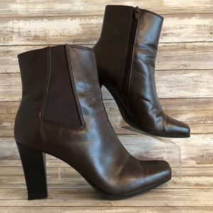 Comfort Plus Brown Zip Faux Leather Ankle Boots